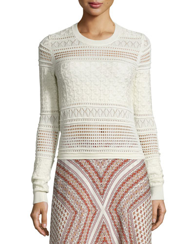 Long-Sleeve Mixed-Knit Top, Ivory