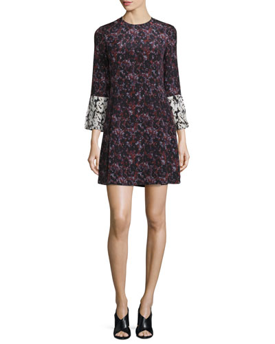 Bell-Sleeve Floral Silk Mini Dress, Ink/Multicolor