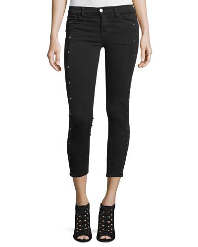 Alba Embellished Skinny Cropped Jeans, Black