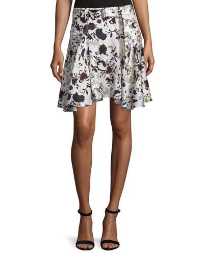 Brien Floral Stretch Silk Skirt, Eggshell/Black/Blue