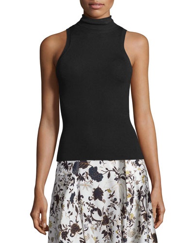 Mirella Sleeveless Ribbed Turtleneck Top, Black
