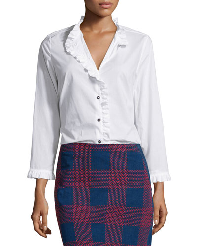 Laing Ruffle-Trim Shirt, White
