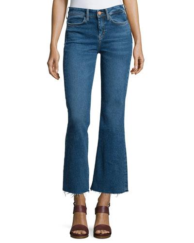 Lou Flare-Leg Cropped Jeans, Blue Fade