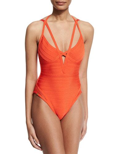 Bandage One-Piece Monokini Swimsuit, Vermillion