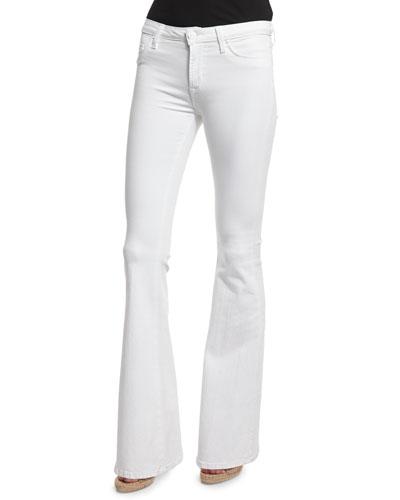 Mia Mid-Rise Flare-Leg Jeans, White