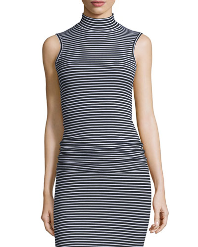 Sleeveless Striped Fitted Mock-Neck Top, Black/White