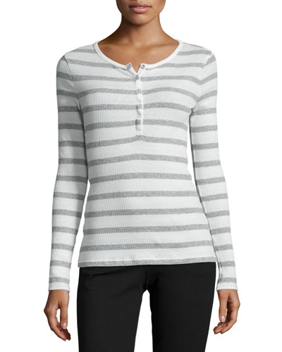 Long-Sleeve Striped Henley Top, Heather Gray/Ecru