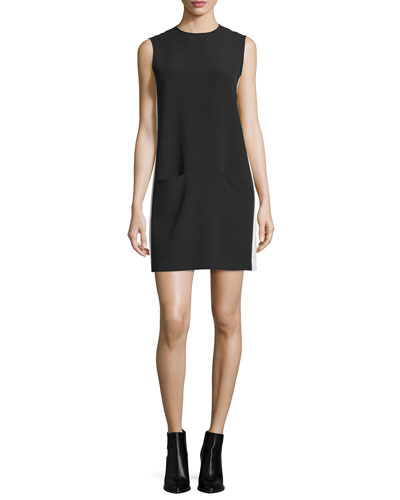 Sleeveless Crepe Shift Dress, Black/Ecru