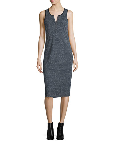 Melange Henley Jersey Dress, Midnight/Steel
