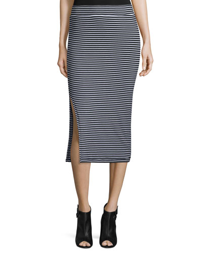 Striped Ribbed Pencil Skirt, Black/White