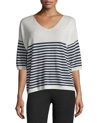 Striped Cashmere V-Neck Sweater, Ecru/Midnight