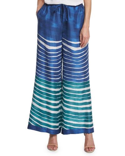 Drawstring-Waist Wide-Leg Striped Pants, Riviera/Multi
