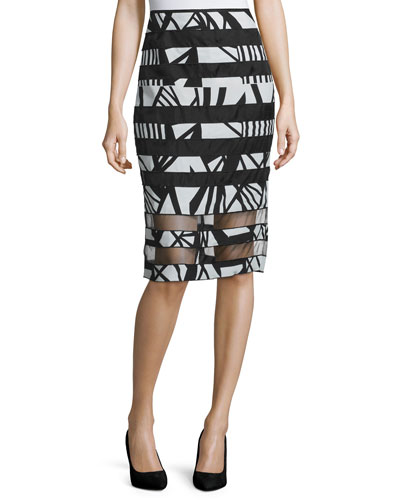 High-Waist Pencil Skirt W/Organza Stripes, Black/Multi
