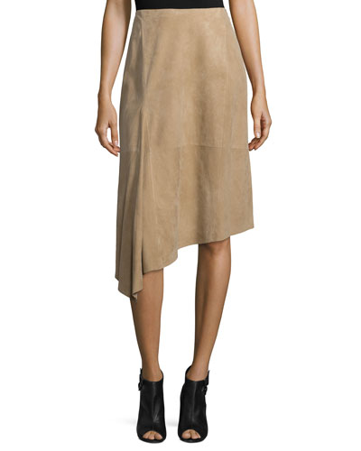 Chantee Suede Asymmetric Skirt, Dune