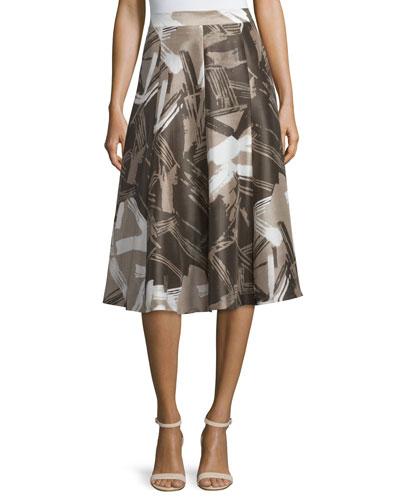 Boot High-Waist A-Line Printed Skirt, Hickory/Multi