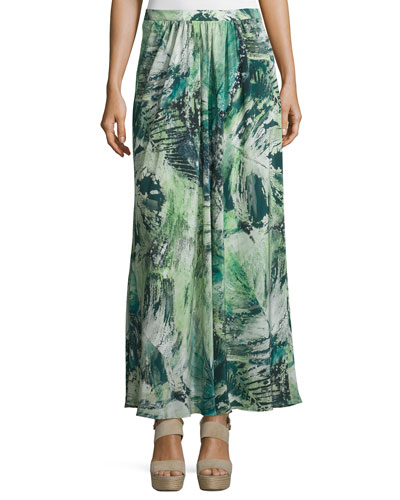 Yasmine Printed Maxi Skirt, Mint/Multi