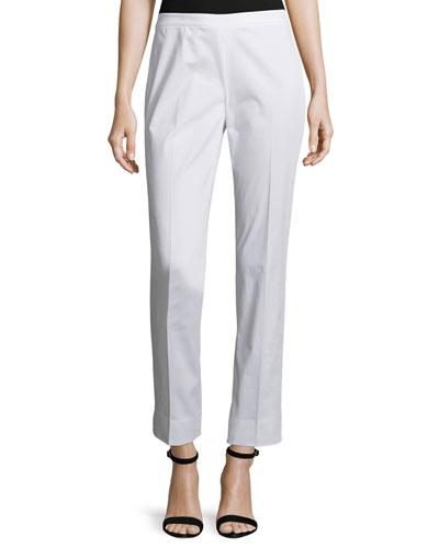 Slim-Leg Ankle Pants, White