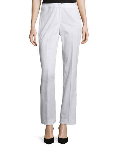Mid-Rise Straight-Leg Pants, White