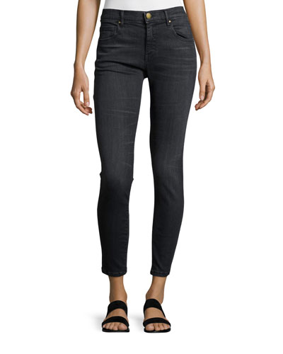 The Almost Skinny Ankle Jeans, Worn Black Wash
