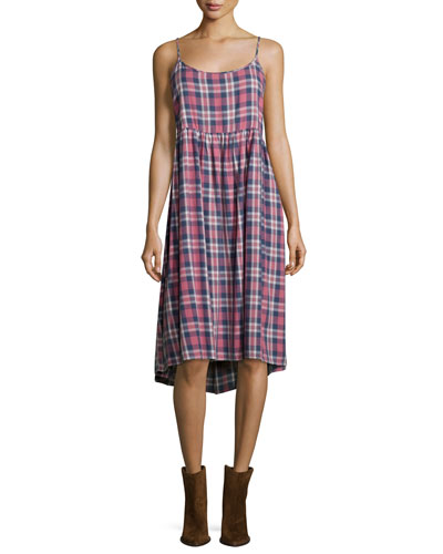 The Tea Time Sleeveless Dress, Washed Cherry Plaid