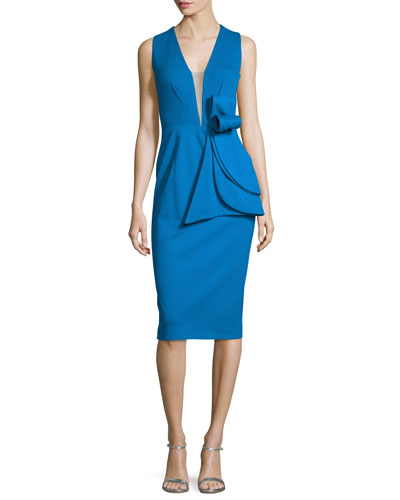 Sleeveless Deep-V Bow-Waist Cocktail Dress