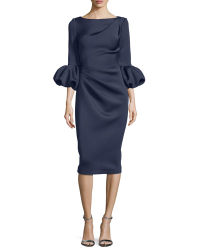 Puffy-Sleeve Pleated-Front Sheath Dress