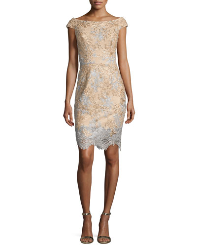 Off-the-Shoulder Two-Tone Lace Cocktail Dress