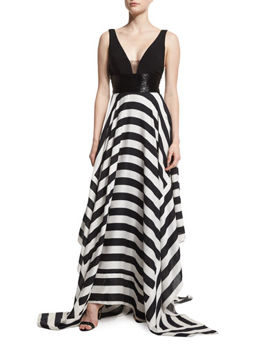 Sleeveless Combo Striped Ball Gown