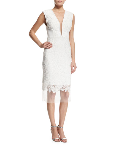 Sleeveless Deep-V-Neck Lace Cocktail Dress