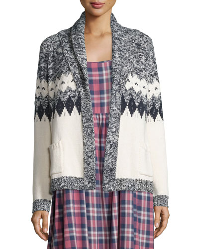 The Bonfire Open-Front Cardigan, Blue & Cream