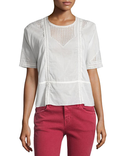 The Manor Lace-Inset Top, Off White