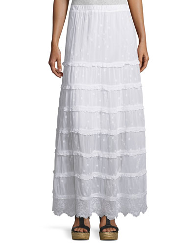 Tiered Georgette Maxi Skirt, White