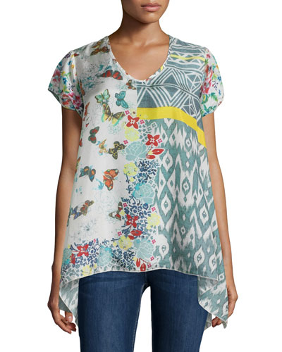 Ray Flare V-Neck Printed Tunic, Multi Colors