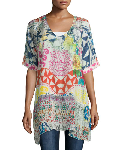 Butterfly Half-Sleeve Printed Tunic, Multi Colors