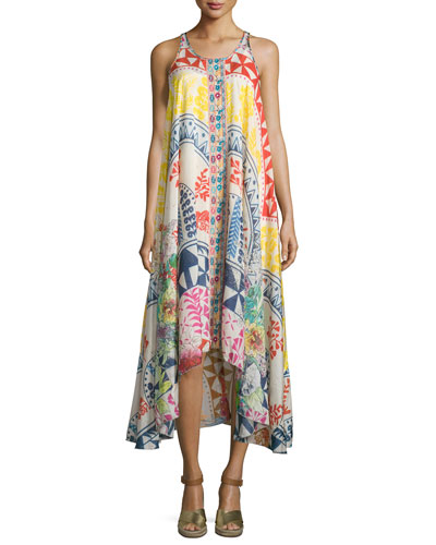 Love Sleeveless Printed Asymmetric Dress