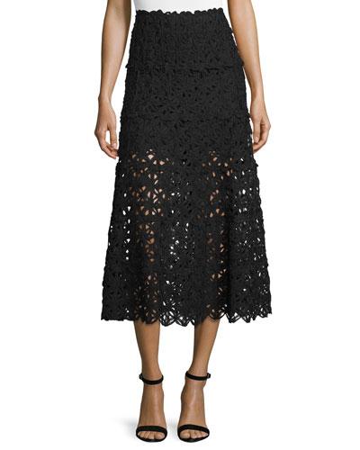 Ribbon Lace Midi Skirt, Black