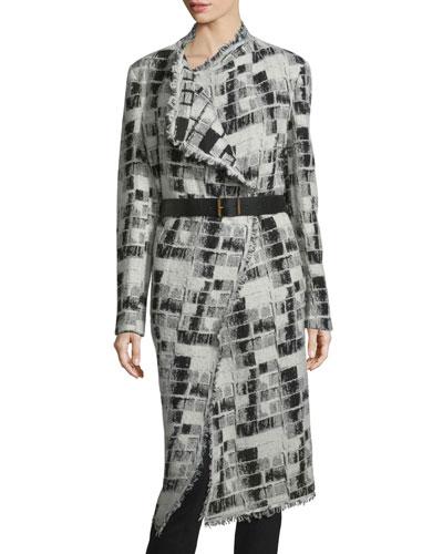 Long-Sleeve Belted Blanket Coat, Black/Ivory