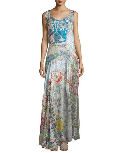 Bessy Sleeveless Printed Maxi Dress, Multi Colors