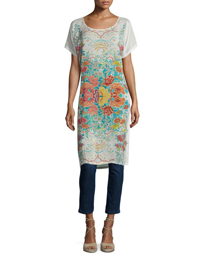 Short-Sleeve Floral-Print Long Tunic, Multi Colors