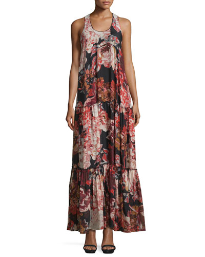 Izzie Floral Silk Maxi Dress, Multicolor