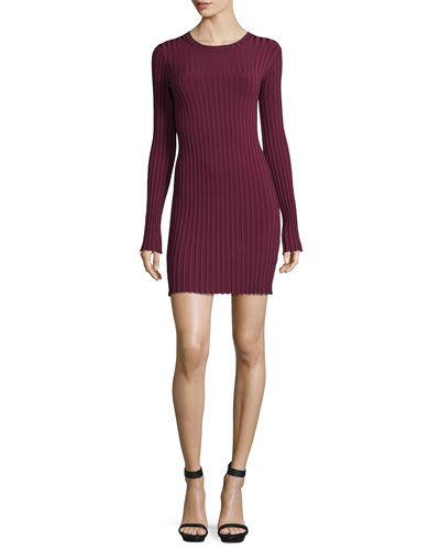 Penny Long-Sleeve Ribbed Bodycon Dress, Bordeaux