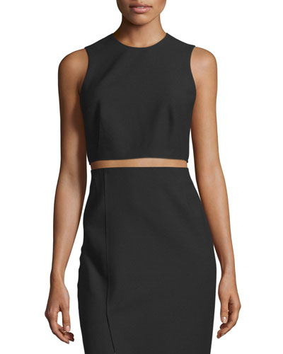 Bowen Sleeveless Crepe Cropped Top, Black