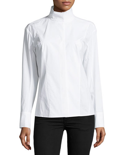 Long-Sleeve Origami-Collar Shirt, White
