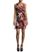 Sleeveless Floral Silk Mini Dress, Multicolor