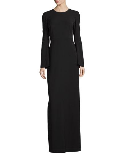 Clint Bell-Sleeve Column Gown, Black