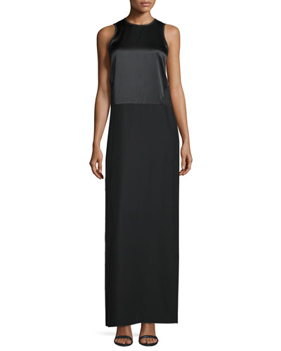 Cody Sleeveless Silk Gown, Black