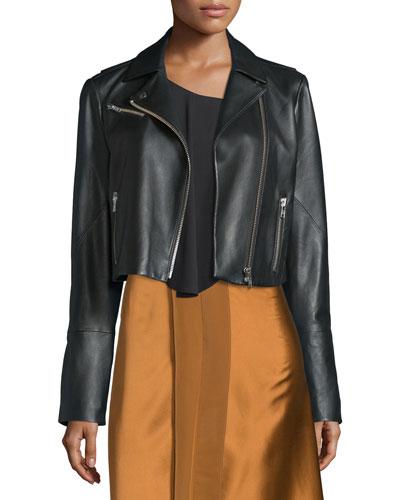 Gigi Cropped Leather Biker Jacket, Black