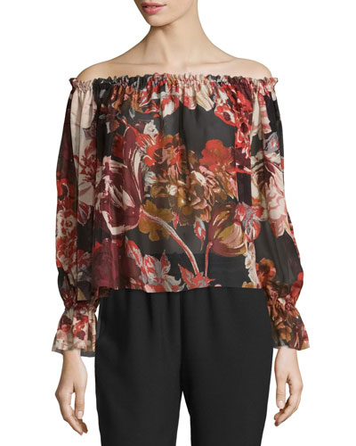 Remi Printed Silk Off-the-Shoulder Top, Multicolor