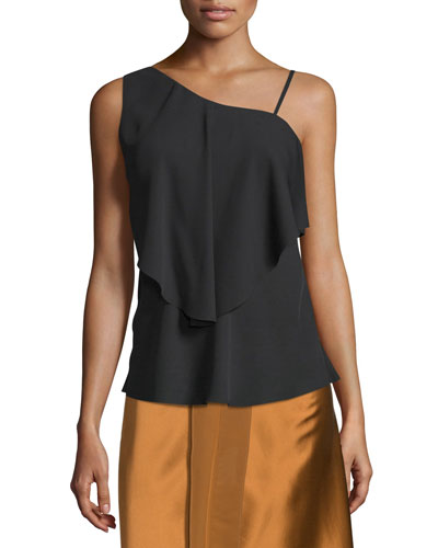 Ruby Draped Popover Top, Black