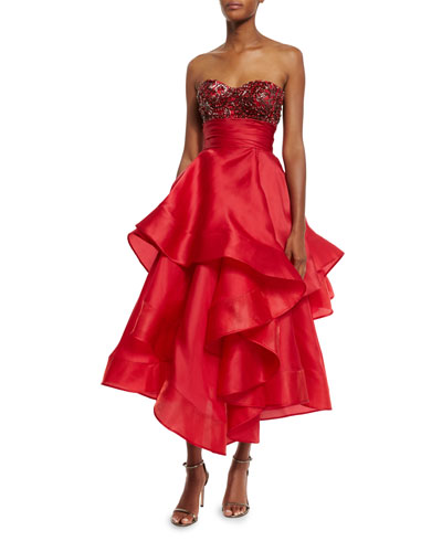 Beaded Strapless Tea-Length Gown, Red